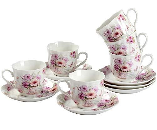 Cerámica 6 Juegos de Tazas de Café Con Platos - 80ML Exquisita Diseño de Flores Floreciente Set de Regalo de Set de Café Tazas Para Espresso, Café Solo, Cortado
