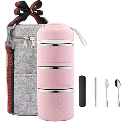 3-stöckige Edelstahl-Thermo-Lunchbox, dicht, auslaufsicher, stapelbar, tragbar, Lebensmittel-Aufbewahrungsbehälter für Studenten, Kinder, Outdoor, Camping, Besteck-Set (Pink)