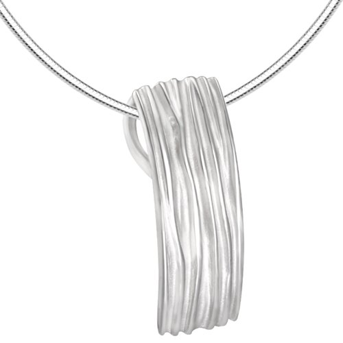 Vinani Anhänger Rechteck Streifen mattiert glänzend mit Schlangenkette 50 cm Sterling Silber 925 Kette Italien ARI50