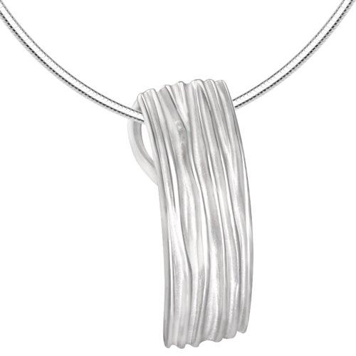 Vinani Anhänger Rechteck Streifen mattiert glänzend mit Schlangenkette 45 cm Sterling Silber 925 Kette Italien ARI45