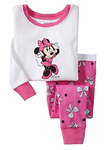 Greneric Conjunto de pijama de algodón para niños de verano, aire acondicionado, manga larga, fino, para niñas, dibujos animados, ropa para casa, color rojo 1708
