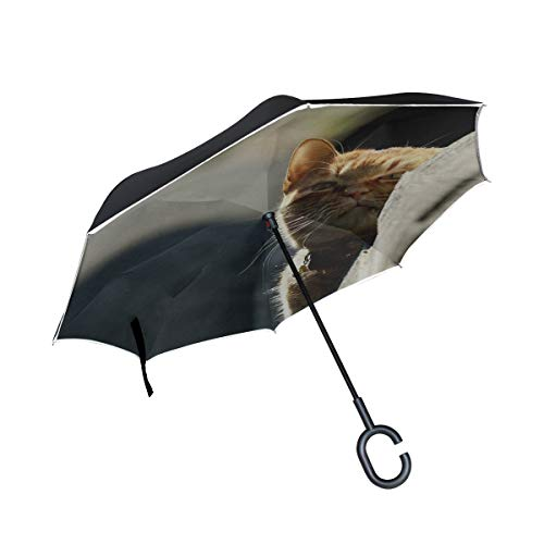 Inverted Umbrella Rain Sun Car Reversible Cat Look Out Light Large Double Layer Outdoor Upside Down Umbrella with Women with Uv Protection C-Shaped Handle