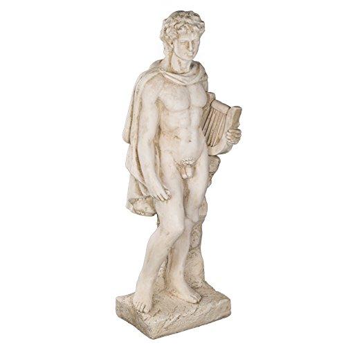 Wetterfeste Riesige schwere (11kg) Statue 85 cm hoch SYL-A 14013- Apollo , Gott mit Instrument, Krieger, Gartenfigur, Dekofigur, Statue, Mythologie, Figur, Büsten, Dekorationsfigur für Innen und Außen, Polyresin , Gartendekoration, Gartenfigur, Skulptur in ANTIKBEIGE
