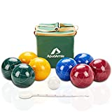 ApudArmis 107mm Bocce Balls Set, Outdoor Tournament Bocce Game for Backyard/Lawn/Beach - Set of 8 Poly-Resin Balls & 1 Pallino & Nylon Carrying Case & Measuring Rope (Red,Blue,Green,Yellow)