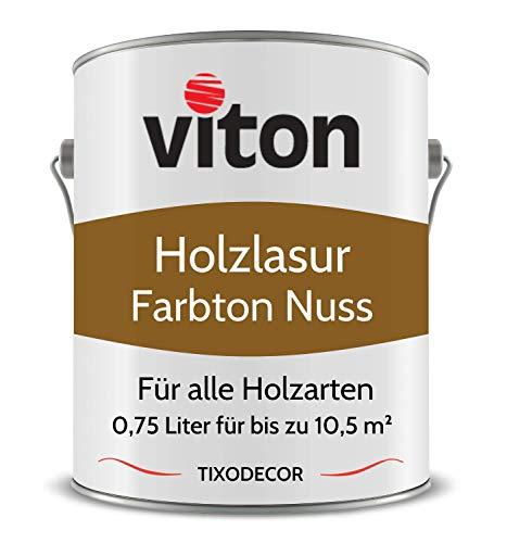 0,75 Liter Holzlasur von Viton - Farbe Nussbaum - 3in1 Seidenmatt - Holzschutzlasur, Lasur für Holz - Extra starker Schutz für Innen und Außen - Wetterfest, Atmungsaktiv & UV-beständig - Tixodecor