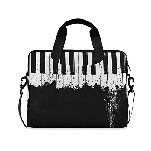 OOWOW - Bolsa para portátil para mujer y hombre, diseño vintage, color negro y blanco