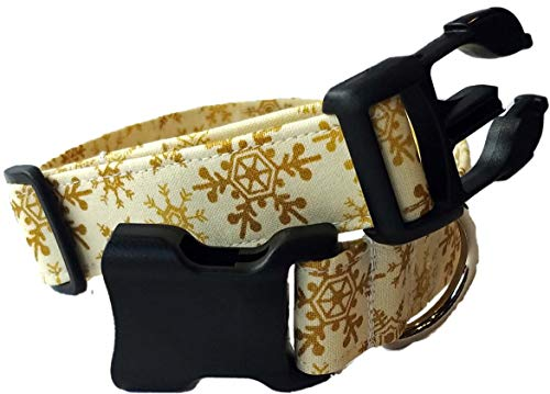 Britches4Stitches Gold Snowflake Dog Collar - New Year Christmas Winter Hanukkah - Snow Snowy Frozen White Golden Puppy - Cotton Fabric Adjustable Day (L)