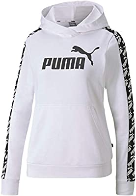PUMA Women's Amplified French Terry Cropped Hoodie, White, L