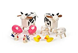 No farm is complete without some farm animals! Includes two cows, two sheep, two pigs, two ducks and two chickens. A great addition to The Oldfield Farm. Height: 9.5cm Made from high quality, responsibly sourced materials.