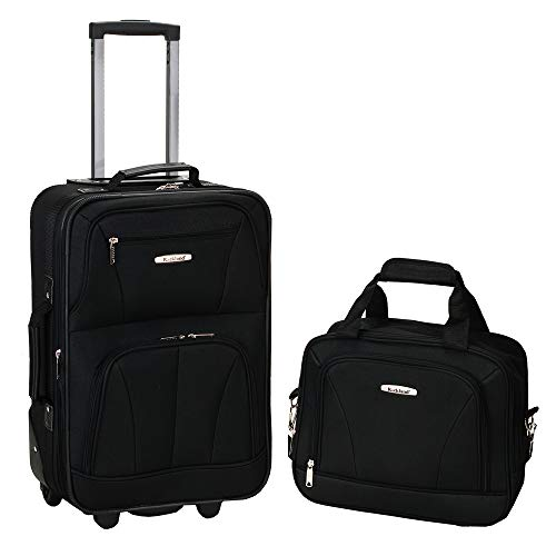 Rockland Fashion Softside Upright Luggage Set, Black