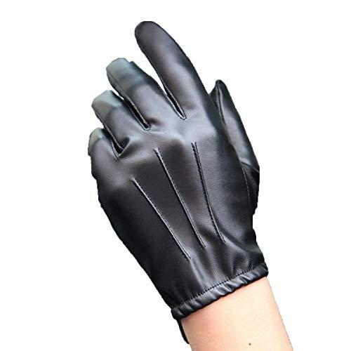 Gants En Cuir Section Hommes Conduite Conduite Écran Moto Conduite Único Gants Tactile Antidérapant Complet (Color : Noir, Size : L)