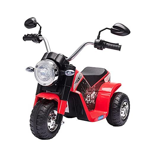 HOMCOM Moto Eléctrica Infantil con 3 Ruedas Triciclo a Batería 6V para Niños de 18-36 Meses con Faro Bocina Velocidad 2 km/h 72x57x56 cm Rojo