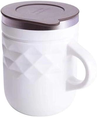 お湯カップ、 ふた容量-400mlのステンレス鋼のカップルのコップの創造的なハンドルのコップ (Color : White)