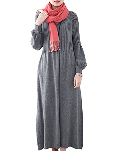 Youlee Mujer Invierno Otoño Vestido Jersey de Lana Manga Larga Maxi Vestidos Style 3 Grey