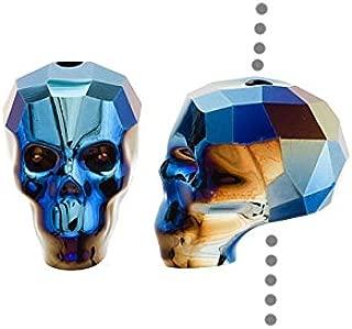 SWAROVSKI ELEMENTS Crystal Beads, #5750 Skull, 13mm 1 Piece, Crystal Metallic Blue 2X
