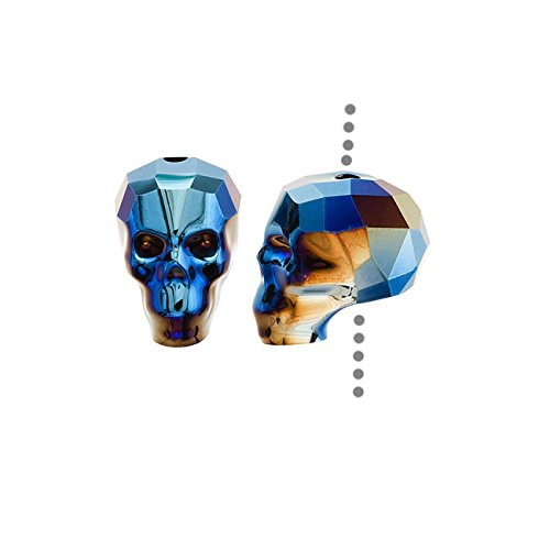 SWAROVSKI Crystal, 5750 Skull Bead 13mm 1 Piece, Crystal Metallic Blue 2X