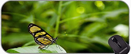 Alfombrilla de ratón antideslizante, mariposa en flor en el día soleado Mouse Pad con bordes cosidos