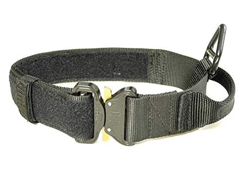 Redline K9 Maxtac 1.75' Black Service Dog Id Collar with Handle & Cobra Buckle Fits Neck Size 16' - 19'
