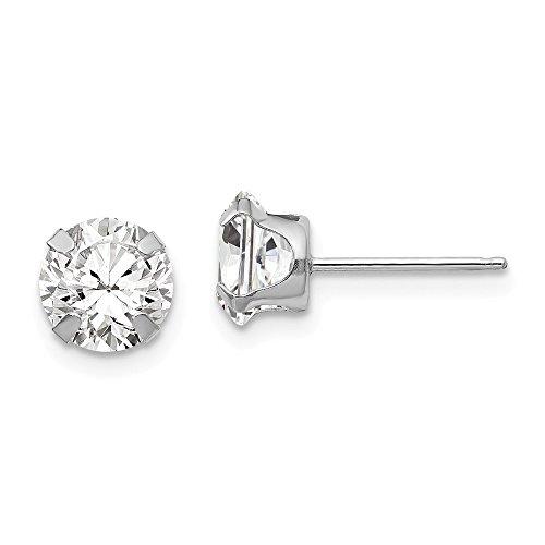 Pendientes de oro blanco de 14 quilates con circonitas cúbicas de 6,5 mm y circonitas cúbicas de imitación de diamantes de imitación, medidas de 6,5 x 6,5 mm, regalos para mujeres