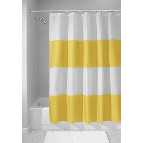 MDesign Bold Stripe Waterproof Mold Mildew Resistant Heavy Duty Flat Weave Fabric Shower