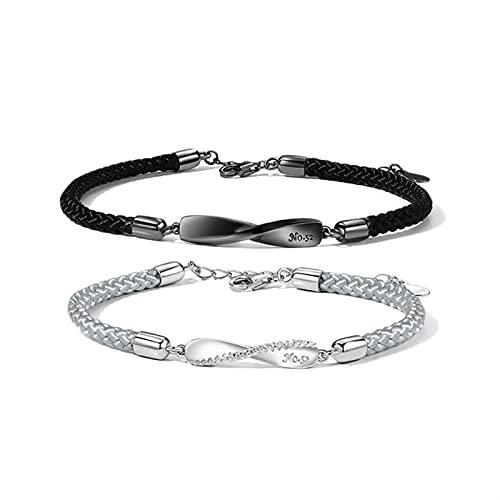 Marekyhm -uk - Pulseras de pareja para hombres y mujeres tejidas a mano, diseño de cuerda de mano con sentido de larga distancia y amor pulsera de pareja (color metálico: blanco y negro)