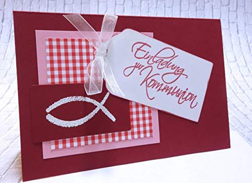 Einladung Einladungskarte zur Kommunion oder Konfirmation Fisch weinrot rosa handgefertigt Handarbeit A6