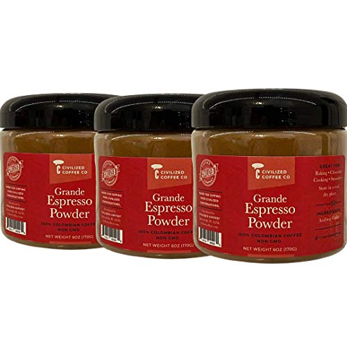 Civilized Coffee Instant Espresso Powder for Baking, Smoothies & Chocolate Non-GMO, 100% Arabica Coffee Jar (3)