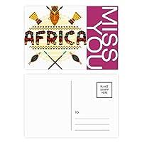 アフリカの装飾的なテキストのトーテムのサイン ポストカードセットサンクスカード郵送側20個ミス