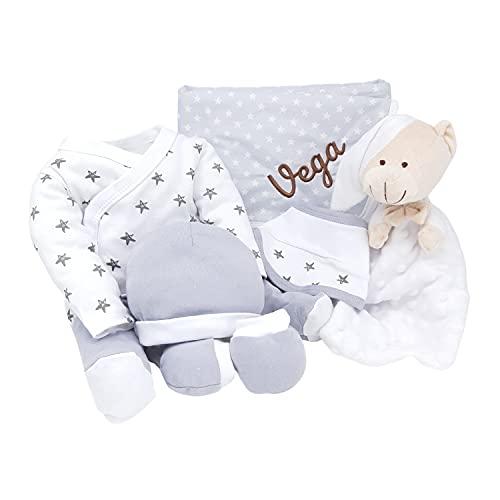 Mi Noche Mabybox – Canastilla para bebés personalizada con set de pijama para bebé, doudou y arrullo con nombre del recién nacido – Personaliza tu regalo para recién nacido. (Gris)