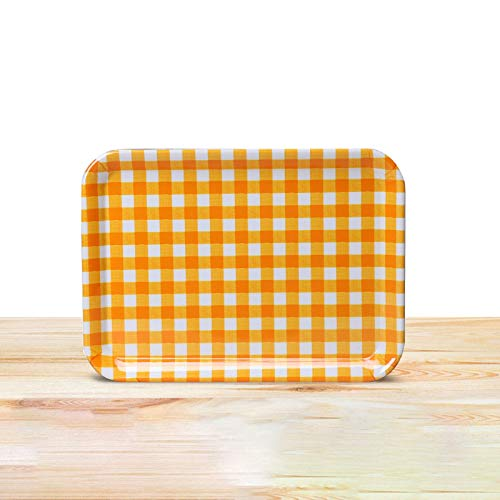 Bandeja Bandeja rectangular pan para pasteles bandeja de bandeja de restaurantes bandeja de té europeo bandeja de kindergarten bandeja de fruta bandeja de bandeja de cuadrícula amarilla pequeña media