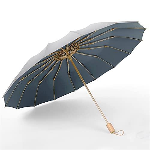 JKLO 16k DREI Faltschirme Titan Silber Beschichtung Sonnencreme Sunny Rainy Dual-Use-Frauen-Regenschirm Super starker Winddicht UPF50 + 604 (Color : 01)