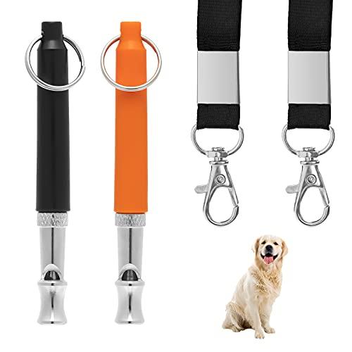 WIFUN Hundepfeife, 2 Stück Ultraschall HundPfeife für Hundeausbildung, Einstellbare Hochfrequenz Leise Hundepfeife mit Schlüsselband