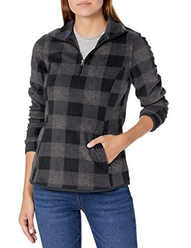 Amazon Essentials Quarter-Zip Polar Fleece Jacket Outerwear-Jackets, Carbón Cuadros Estilo búfalo,...