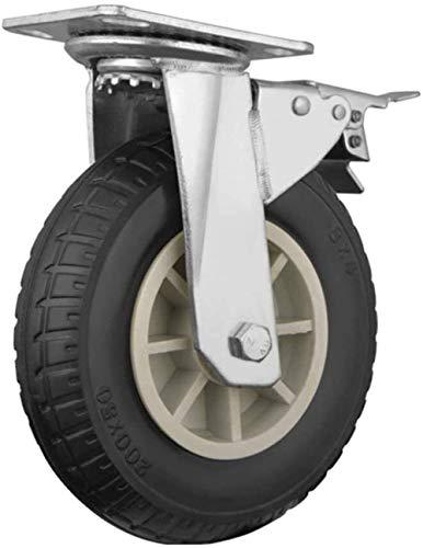 Länkhjul Rörliga hjul Hjul Elastiska krafthjul 4 delar vagnhjul med bromslagerkapacitet 500 kg tunga hjul för möbler (färg: C, storlek: 8 tum) möbelhjul
