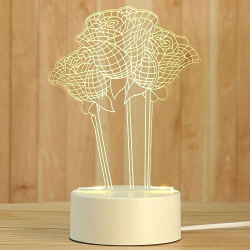Creativity 3D Ilusiones Rose LED lámpara de noche luz de 3 colores regulables pulsador interruptor de noche lámpara para niños recargable por USB lámpara de mesa perfecta decoración de dormitorio