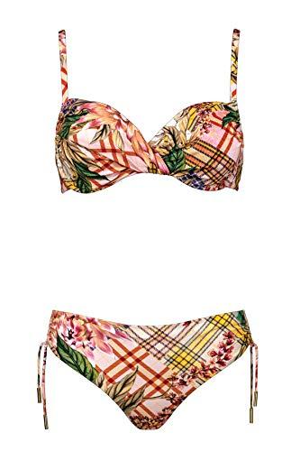 Maryan Mehlhorn, Bikini-Set, Oberteil ungefüttert mit Bügel, Bikini Slip mit Variabler Seitenhöhe, Punk de Fleurs 5520 des. 808 (40E, Pastel-Patchwork (619))