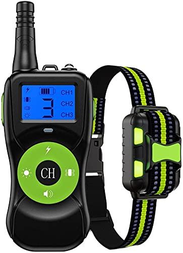 LXNQG Cuello de Entrenamiento de Perro Collar de vibración Remoto 2624 pies USB Cargadura IPX67 Modos de Entrenamiento a Prueba de Agua 4 Adecuados para Perros pequeños, medianos y Grandes (Verde) w