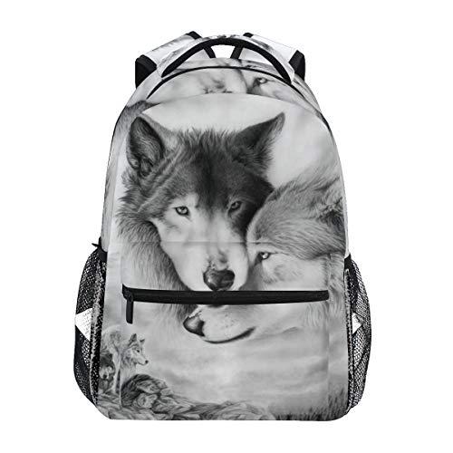 Wolf Studenten Backpack für Mädchen Jungen & Kinder Schulrucksack College Reiseeucksack Tagesrucksack für Sport & Outdoor