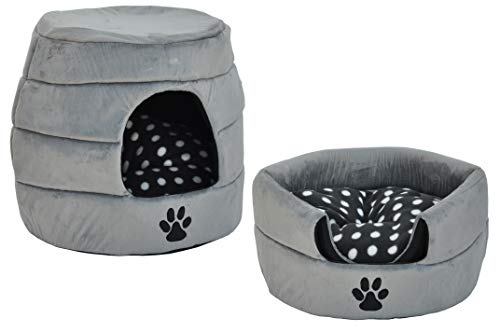 "nanook \""Simba 2 in 1: Katzenhöhle und Katzenbett in Einem - Velours, Farbe: grau"