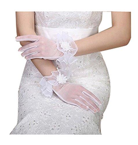Gants de mariage élégants en gaze, longueur de poignet, gants de mariée