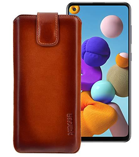 Suncase Echt Ledertasche kompatibel mit Samsung Galaxy A21s Tasche *Slim-Edition* Leder Etui (mit Rückzugsfunktion & Magnetverschluss) in Burned Cognac