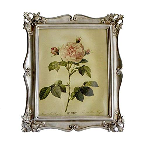 CISOO Vintage Picture Frame 8x10 Table Top Display Wall Mounting Antique Photo Frame Home Decor (Silver)