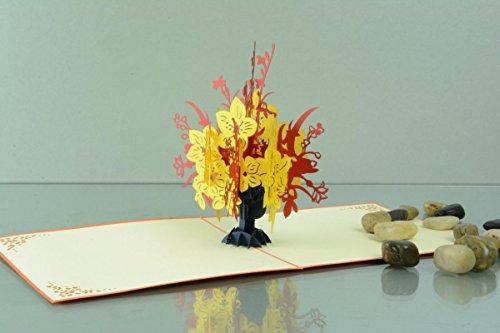 Blumen 3-D Pop Up Grußkarte Geburtstag Blumenstrauß rot-gelb Geldgeschenk Handmade 15x15cm