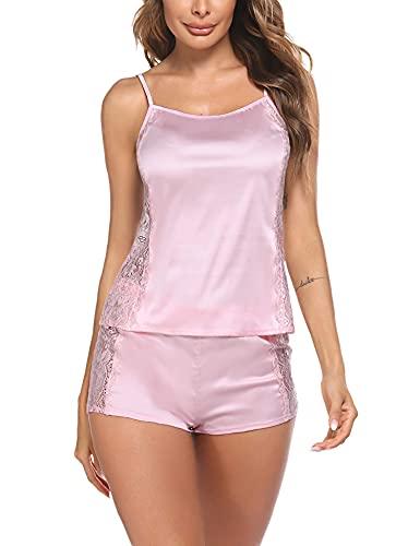 Avidlove Damen Schlafanzug Sexy Hausanzug Satin Pyjama Kurz Nachtwäsche Ärmellos Sleepshirt Einfarbig Nachthemd Negligee Sleepwear Pink S