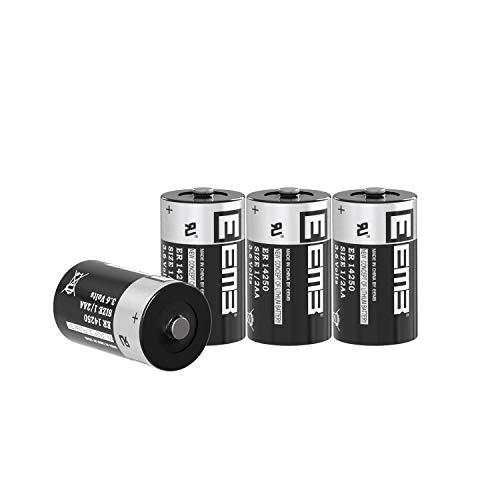4X EEMB ER14250 Batterie Nicht wiederaufladbare 3,6-V-Lithiumbatterie Li-SOCL₂ 1/2 AA Größe 1200 mAh UL-zertifiziertes Lithiumthionylchlorid zum Einmalgebrauch Batterie