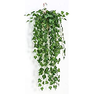 Silk Flower Arrangements Artificial and Dried Flower 4X 90cm Artificial Ivy/Begonia/Scindapsus Leaves Wall Mounted Green Plants for Balcony Home Decoration Simulation Flowers - ( Color: Type A )