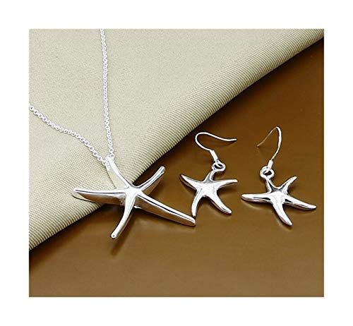 QQINGHAN Juego de joyas de plata de ley 925 simple moda insecto luna redonda bola collar pendientes conjuntos para regalo mujer (color: 21)