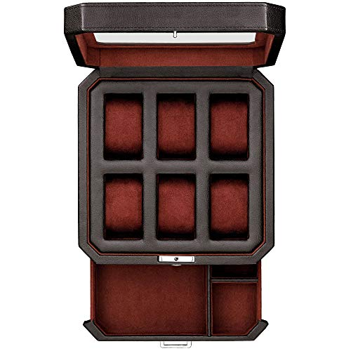 Caja de reloj de piel con 6 ranuras con cajón de valet para hombres – Organizador de relojes de lujo, forro de microgamuza, bloqueo de relojes para hombre, caja de almacenamiento grande