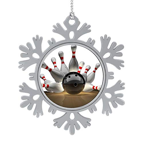 Bowling Ball Sport Snowflake Decoration Christmas Tree Hanging Snowflake Ornament for Holiday New Year Party Wedding Decoration