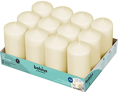 BOLSIUS Set of 12 Ivory Pillar Candles - Unscented 43 Hour Long Lasting Candles - 2.75-x 5-inch Dripless Clean Burning Smokeless Dinner Candle - Perfect for Weddings Parties and Special Occasions